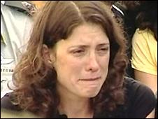 Karnit Goldwasser - Ehud's widow - at his funeral - grab from TV