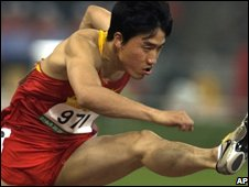 "China""s Liu Xiang during the heats for the men""s 110m hurdles"