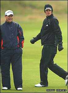 Tom Watson and Justin Rose on the first hole