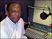 Alvin Hall in a radio studio