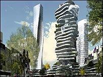 Imagen generada por computadora de posibles edificios que se podrían construir en París
