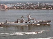 El crucero Mariscal Ustinov durante una visita a EE.UU.  Foto: Marina de EE.UU.