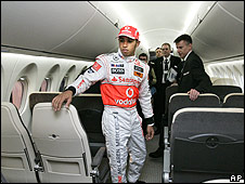 Lewis Hamilton in a private jet