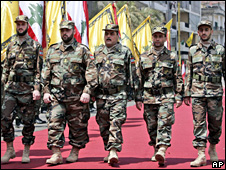 Freed Lebanese prisoners on parade in Beirut