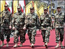 Freed Lebanese prisoners on parade in Beirut