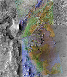 Image of the delta in Jezero crater, a past lake on Mars. (Nasa/JPL/JHUAPL/MSSS/Brown University)