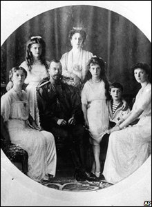 Bottom row left to right: Princess Olga, Tsar Nicholas II, Princess Anastasia, Prince Alexei and Princess Tatiana. Top row left to right: Princess Maria and Tsarina Alexandra