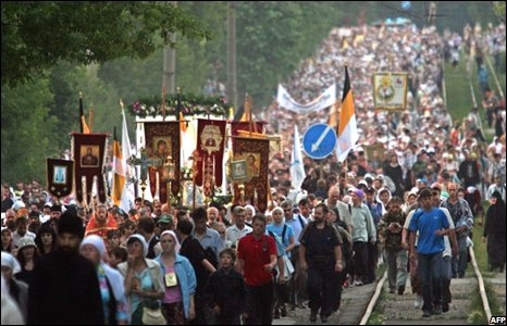 Russian Othordox pilgrims march to commemorate the killing of the Russian Imperial family