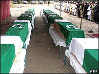 Coffins of Pakistan army soldiers killed near Peshawar in June 2008