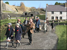 Coal House families leave Stack Square, Blaenavon