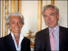 Christine Lagarde and the BBC's Owen Bennett-Jones