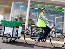 Waitrose eco-bicycle with trailer