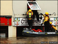 Fire crews rescues residents in Evesham, Worcestershire, on 21 July, 2007