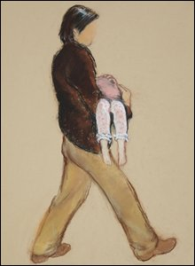 Artist drawing of a man carrying a child