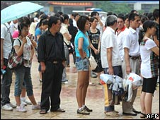 A queue at a railway station in Hefei, Anhui province, at the end of June