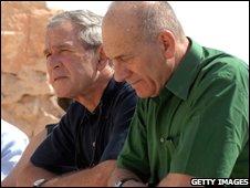 George W Bush and Israeli Prime Minister Ehud Olmert at Masada