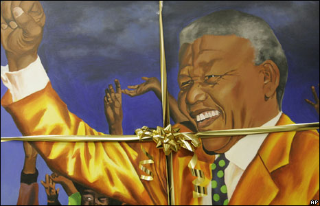 A painting of Nelson Mandela, one of many gifts presented to Mr Mandela, at the Nelson Mandela Foundation in Johannesburg