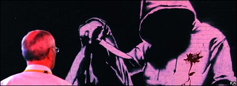 Grafitti of shot hoodie with knife