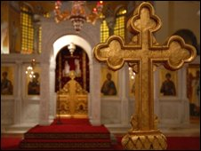 Interior of a Greek Orthodox church