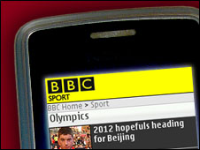 BBC Sport on a mobile phone