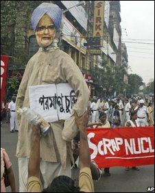 An effigy of PM Manmohan Singh