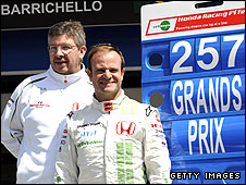Honda team boss Ross Brawn (left) and driver Rubens Barrichello