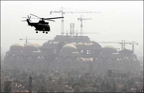 A helicopter transports Gordon Brown across Baghdad