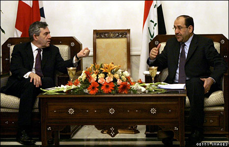UK Prime Minister Gordon Brown meets Iraqi PM Nouri Maliki