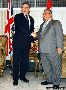 Gordon Brown with Iraqi President Jalal Talibani