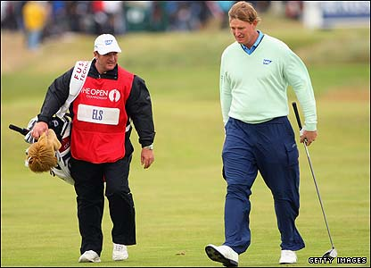 Ernie Els and his caddy at the 15th
