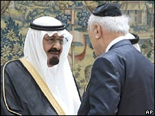 Saudi King Abdullah (left) shakes hands with New York's Rabbi Arthur Schneier