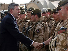 Gordon Brown meeting British troops in Basra
