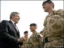 Gordon Brown meets troops in Basra