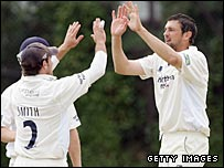 Steve Harmison celebrates a Surrey wicket on Saturday