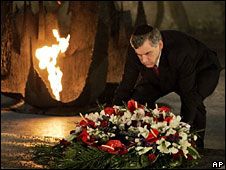 Gordon Brown lays wreath at Hall of Remembrance, Yad Vashem Holocaust Memorial, Jerusalem