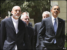 Hamid Karzai and Barack Obama at the presidential palace in Kabul, 20 July