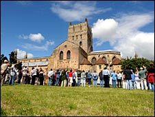 Residents held hands around the abbey