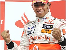 Lewis Hamilton celebrates victory in the German Grand Prix