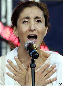 Ingrid Betancourt delivers a speech at a rally in Paris