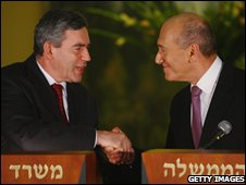 Gordon Brown and Israeli Prime Minister Ehud Olmert