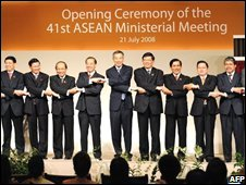 Foreign ministers at the opening of the Association of Southeast Asian Nations (ASEAN) forum in Singapore
