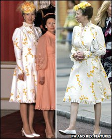 Princess Anne wearing the same dress in 1981 and 2008