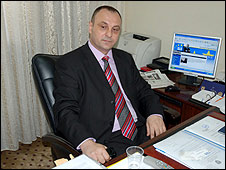 Slobodan Petrovic in his office at the Kosovan parliament, Pristina 