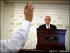 US Attorney General Michael Mukasey speaking at the American Enterprise Institute, Washington, on 21 July