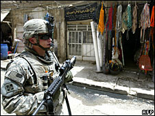 A US soldier patrols in Baghdad, July 13, 2008 (File picture)