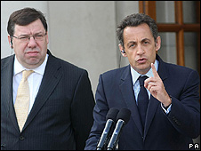 Ireland's PM Brian Cowen (left) with French President Nicolas Sarkozy in Dublin, 21 Jul 08