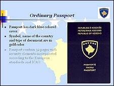 Kosovan passport (screen grab from Kosovan interior ministry website)