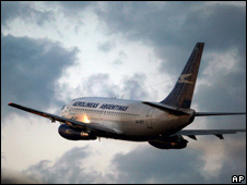 An Aerolineas Argentinas jet takes off from Buenos Aires' airport (file photo)