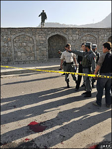 The site of the suicide attack in Kabul on 22 July 2008