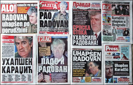 Front pages of Serbian newspapers